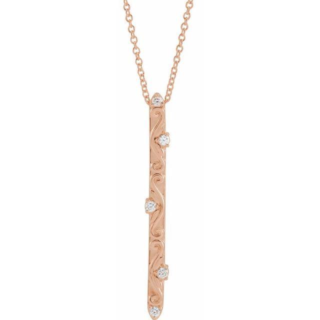 14K Rose .07 CTW Diamond Vintage-Inspired 16-18