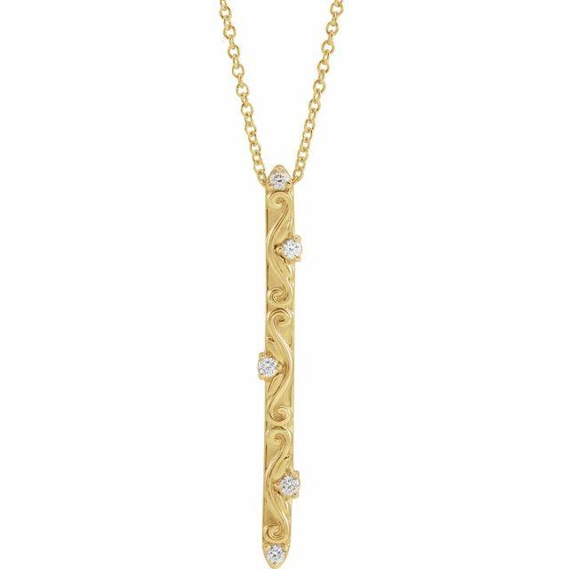 14K Yellow .07 CTW Diamond Vintage-Inspired 16-18
