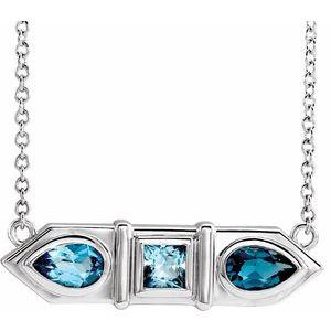 "14K White Blue Multi-Gemstone Geometric Bar 18"" Necklace"