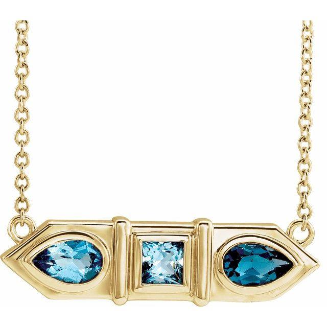 14K Yellow Blue Multi-Gemstone Geometric Bar 18