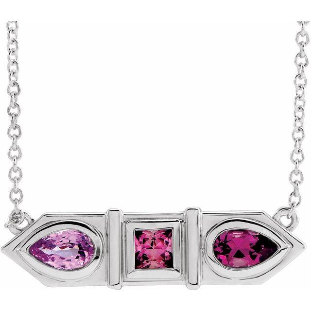 "14K White Pink Multi-Gemstone Geometric Bar 18"" Necklace"