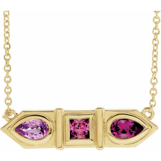 14K Yellow Pink Multi-Gemstone Geometric Bar 18