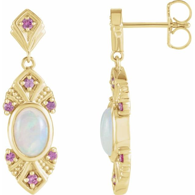 14K Yellow Ethiopian Opal & Pink Sapphire Vintage-Inspired Earrings