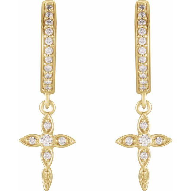 14K Yellow 1/8 Diamond Cross Hoop Earrings