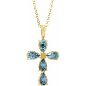 "14K Yellow Aquamarine Cross 16-18"" Necklace"