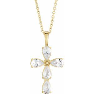 "14K Yellow Sapphire Cross 16-18"" Necklace"