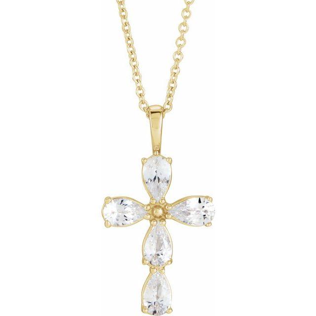 14K Yellow Sapphire Cross 16-18