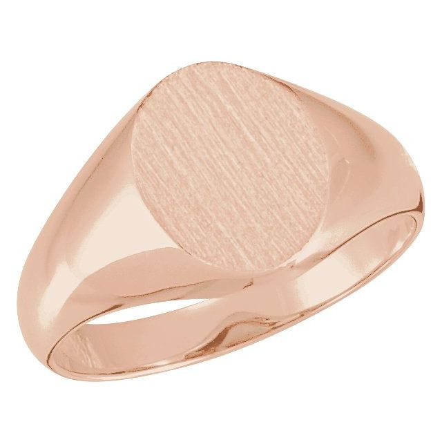 14K Rose 11x9.5 mm Oval Signet Ring