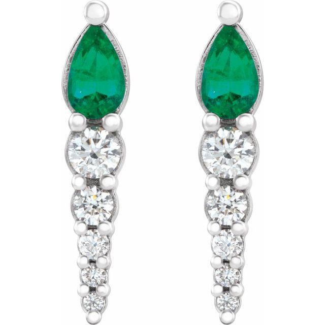 14K White Emerald & 1/4 CTW Diamond Earrings