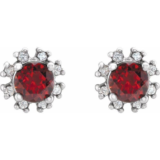 14K White Mozambique Garnet & .07 CTW Diamond Earrings