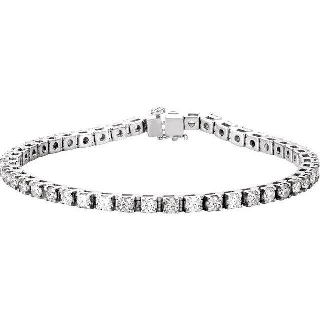 "14K White 4 3/4 CTW Diamond Line 7"" Bracelet"