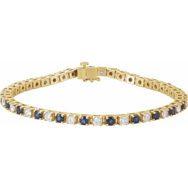 "14K Yellow Blue Sapphire & 2 3/8 CTW Diamond Line 7"" Bracelet"