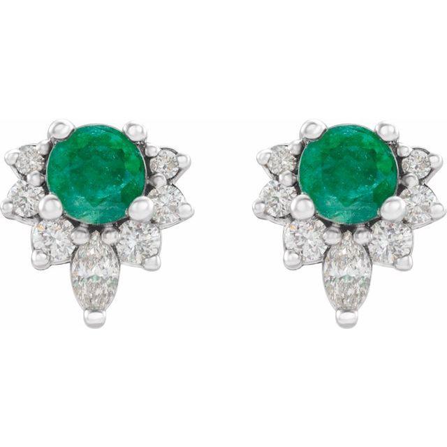 14K White Emerald & 1/6 CTW Diamond Earrings