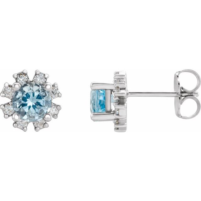 14K White Aquamarine & 1/5 CTW Diamond Earrings
