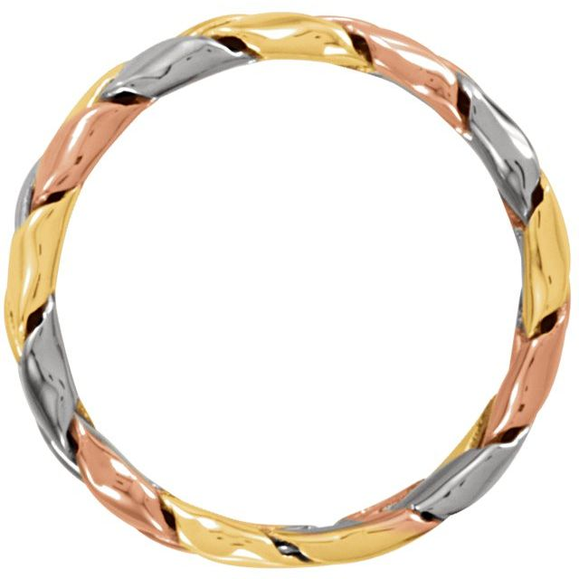 14K Tri-Color 5.5 mm Woven Band Size 10