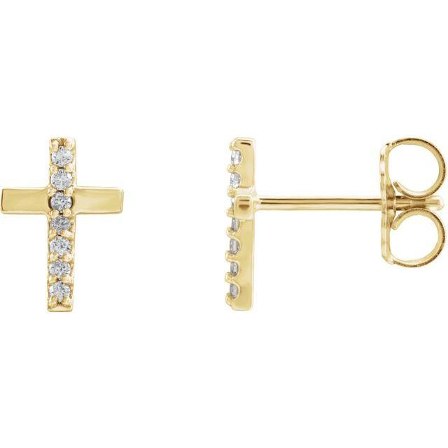 14K Yellow .06 CTW Diamond Cross Earrings
