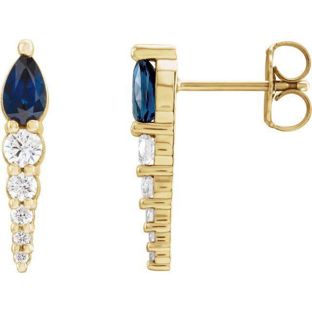 14K Yellow Lab-Grown Blue Sapphire & 1/4 CTW Diamond Earrings