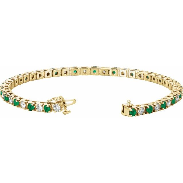 14K Yellow Emerald & 2 1/3 CTW Diamond Line 7
