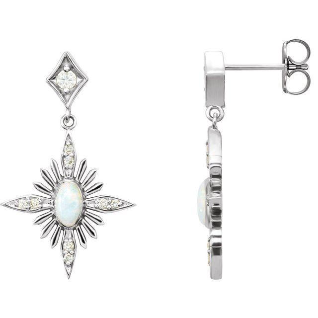 14K White Australian Opal & 1/6 CTW Diamond Celestial Earrings