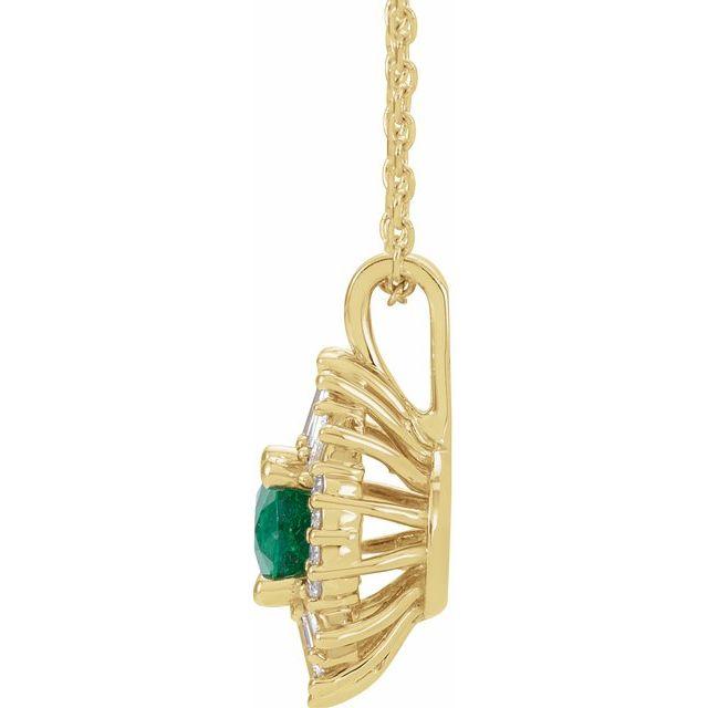 14K Yellow Emerald & 1/4 CTW Diamond 16-18