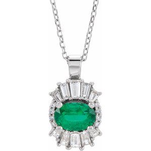 "14K White Emerald & 1/3 CTW Diamond 16-18"" Necklace"