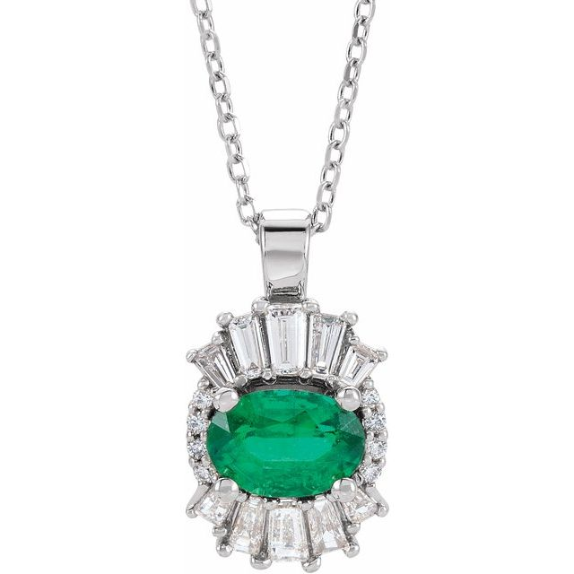 14K White Emerald & 1/3 CTW Diamond 16-18