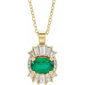 "14K Yellow Emerald & 1/4 CTW Diamond 16-18"" Necklace"