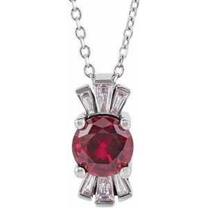 """14K White Chatham® Lab-Created Ruby & 1/6 CTW Diamond 16-18"""" Necklace"""