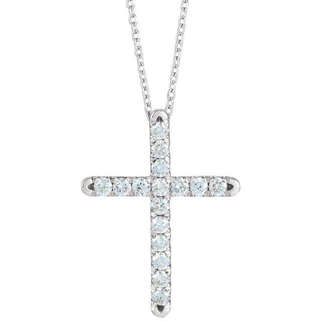 14K White 1/4 CTW Diamond French-Set Cross 16-18