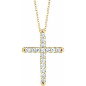 "14K Yellow 1/2 CTW Diamond French-Set Cross 16-18"" Necklace"