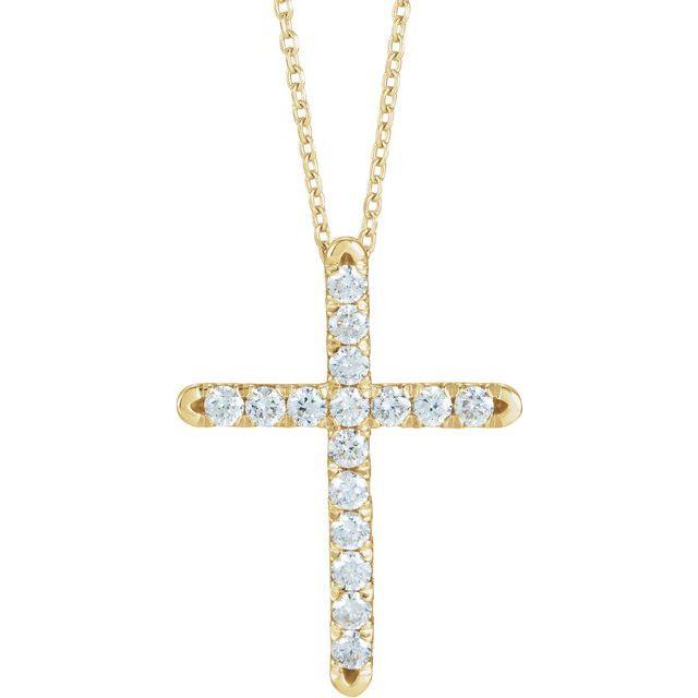 14K Yellow 1/2 CTW Diamond French-Set Cross 16-18