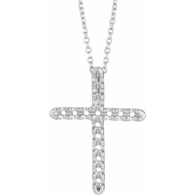 14K White 1/2 CTW Diamond French-Set Cross 16-18