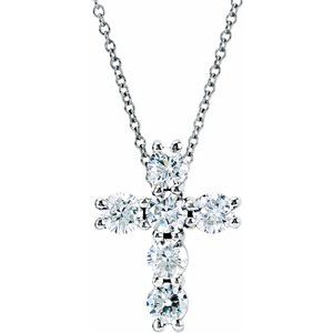 "14K White 1 1/6 CTW Diamond Cross 18"" Necklace"