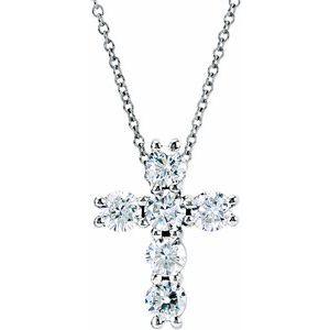 "14K White 9/10 CTW Diamond Cross 18"" Necklace"