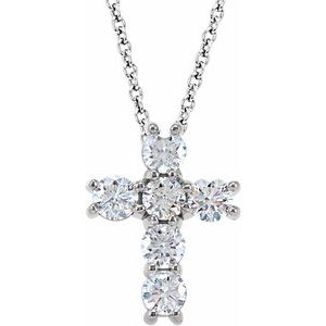 "14K White 3/4 CTW Diamond Cross 18"" Necklace"