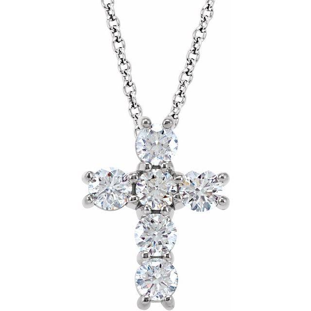 14K White 3/4 CTW Diamond Cross 18