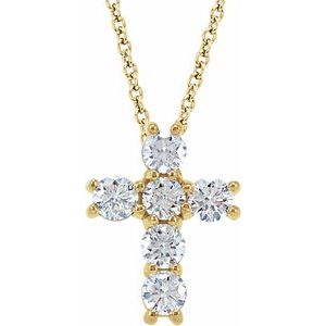 "14K Yellow 3/4 CTW Diamond Cross 18"" Necklace"