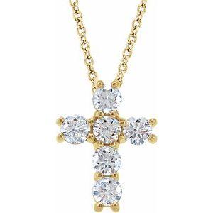"14K Yellow 1/2 CTW Diamond Cross 18"" Necklace"
