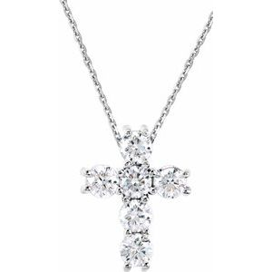 "14K White 1/4 CTW Diamond Cross 18"" Necklace"