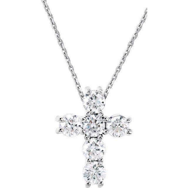 14K White 1/3 CTW Diamond Cross 18
