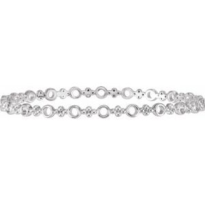 "Sterling Silver 4.4 mm Geometric Bangle 7"" Bracelet"