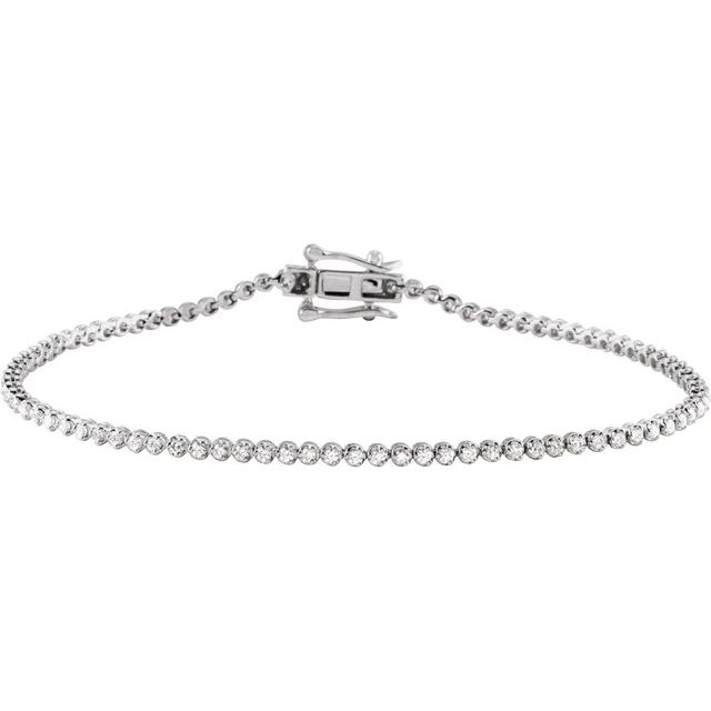 "14K White 7/8 CTW Diamond Line 7""  Bracelet"