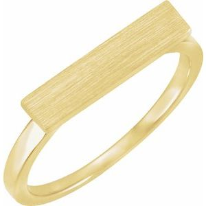 14K Yellow 16x4 mm Rectangle Signet Ring
