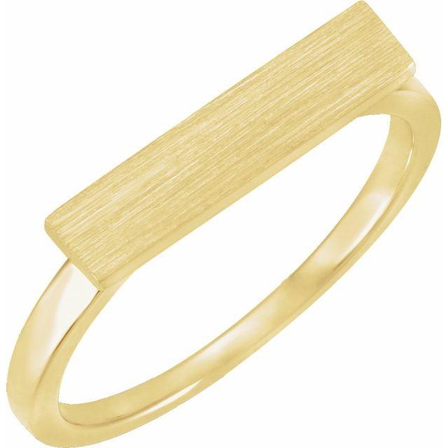 14K Yellow 16x4 mm Rectangle Signet Ring