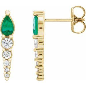14K Yellow Emerald & 1/4 CTW Diamond Earrings