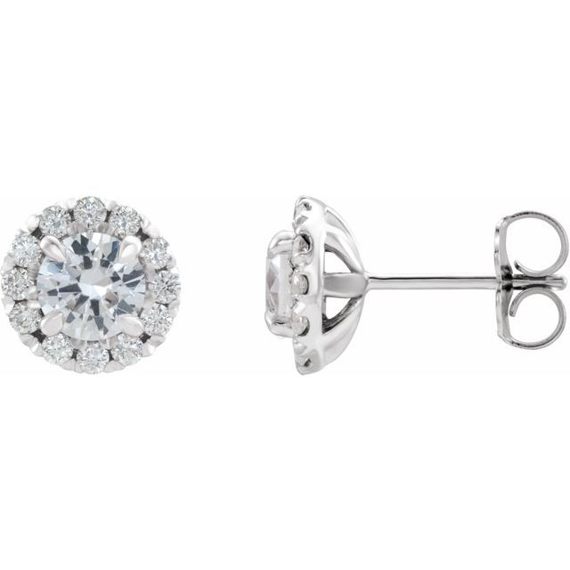 14K White 4 mm Natural White Sapphire & 1/5 CTW Natural Diamond Halo-Style Earrings