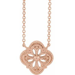 """14K Rose Vintage-Inspired Clover 18"""" Necklace"""