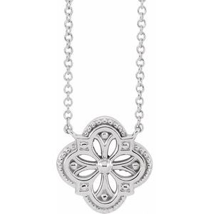 "Sterling Silver Vintage-Inspired Clover 16"" Necklace"