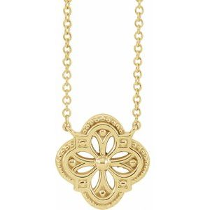 """14K Yellow Vintage-Inspired Clover 18"""" Necklace"""