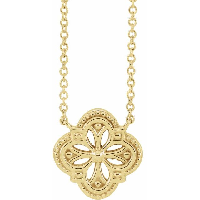 14K Yellow Vintage-Inspired Clover 16